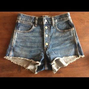 Rag & Bone Lou high waisted snap jean shorts
